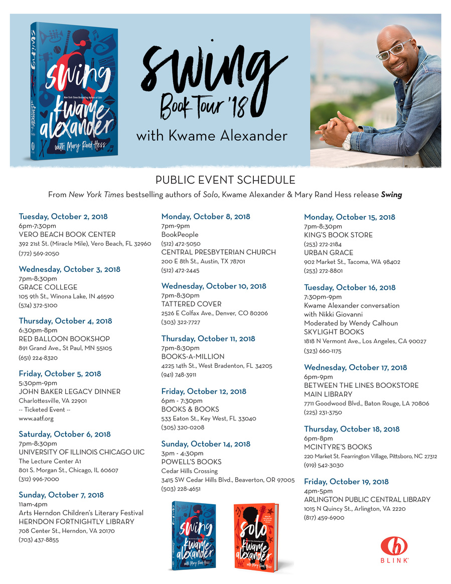 Swing Book Tour 2018 Schedule
